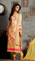 Yellow-and-Cream-Embroidered-Georgette-Churidar-Dr by Manprit1122