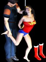 Wonder Woman barefoot and tied by fightgirl2004