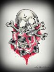 SKULL and ROSE tattoo design by MWeiss-Art