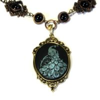 Neo Victorian Jewelry - Necklace - Blue Peacock by CatherinetteRings