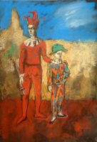 Picasso study 2 clowns by bogdantzigan