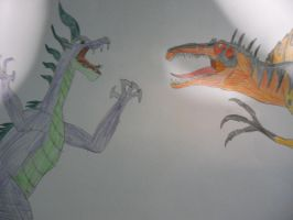 Spike vs Spinosaurus by LacitheHunter