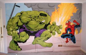 Spider-man v The Hulk by BogusTheMuralist