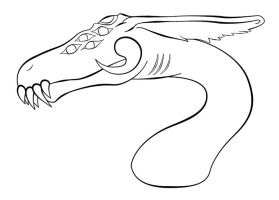 Line Art - Dragon Head by junkyard-angels