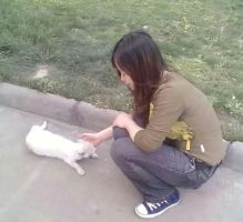 Me and a stray cat by kaithel