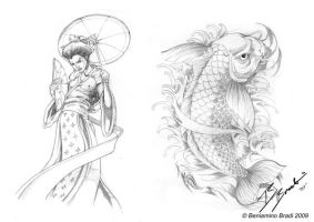 Tattoo Elements Geisha and Koi by BeniaminoBradi