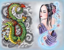 Dragon and Oriental Woman by grrrlytattooer