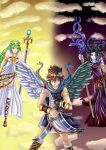 Kid Icarus dark and light by izayachan29