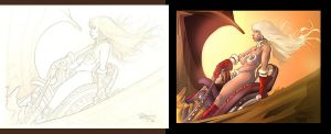 Sunset riding Before/After by nahp75