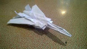 Origami Jet Plane with Swing-Wings by taerkitty