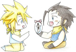 Easter baby Cloud and Zack CG by marjojing