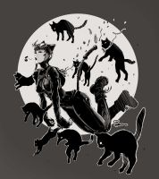 9 lives : 8 cats + Catwoman by semsei
