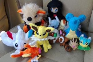 Kana with her pokemon by LRK-Creations