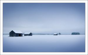 Barns in Winterland by Solkku