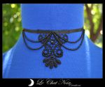 Macrame Collar with PearlsII by LeChatNoirCreations