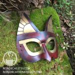Rust Bastet handmade leather costume mask by nondecaf