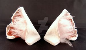 White Pink Leather Cat Ears by StorytellerZero