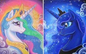 Princess Celestia and Luna by TheDragonsHorde
