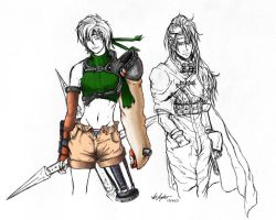 Unfinished Yuffie and Vincent by kahrkillscain