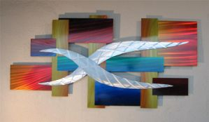 ABSTRACT METAL WALL SCULPTURE by BARRY-J