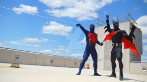 Spiderman 2099 and Batman Beyond ready 4 action! by BatmanBeyondfan2009