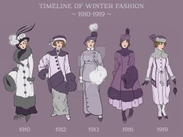 DETAIL: Winter Fashion Timeline 1910-1919 by a-little-bit-lexical