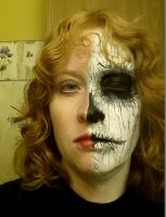 Half Evil face paint by Fire-Redhead