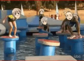 Hetalia - Wipeout: gif - Norway and Denmark by SydneyA