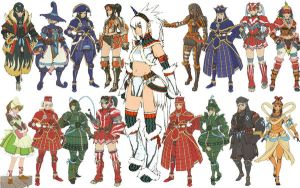 Various Armors Female MH by world-hunter