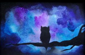Watercolor painting Black owl by WagW