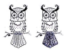 Owl tattoo design by Coffeehouseartist