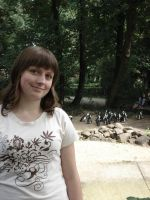 Maria in zoo with penguins by Lukotus