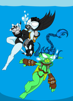 Stealth Elf and Hex Scuba by The1stMoyatia