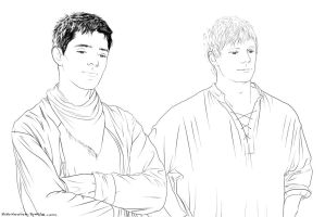 Merlin and Arthur - Lineart by Mababwion1