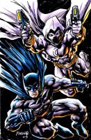 Batman  and Moon Knight by gammaknight