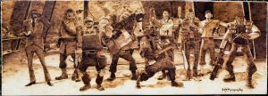 Team Fortress 2 family portrait - BIG Wood Burning by brandojones