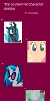 Top 10 favorite MLP character designs by UnicornRarity