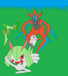 Kirlia Tickle Feet With Deoxys Attack Forme by Kabutopsthebadd