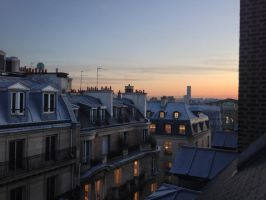 sun set upon Paris roofs by Rimou-Chan