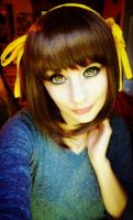 Haruhi Wig and Contacts Test by Hamm-Sammich