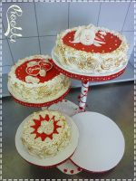 Wedding Cake Red and White by chookki