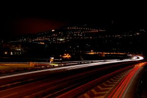 At,night, the motorway by Croc-blanc