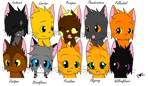 Faces of LightningClan :3 by FoxAndLeo4Ever