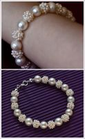 Freshwater Pearl Ball Cluster Bracelet by Sarahorsomeone