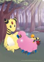 Shiny Greeting - Ampharos and Mareep by RaynesGem