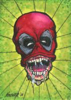 Headpool Sketch Card by HalHefnerART