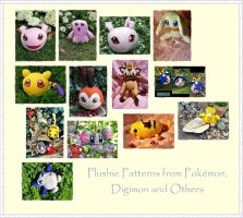 Digimon and Pokemon Plush Patterns by Plushbox