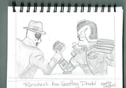 Rorshach arm wrestling Dredd by empty-pages-14