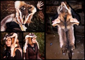 Coyote-Wolf Skin Headdress by NaturePunk