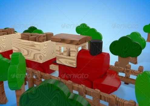 Wood toy train stock by oilusionista-stock